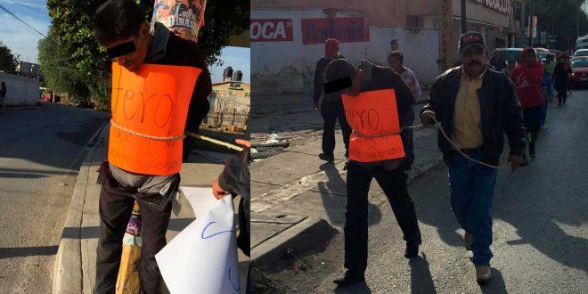 Detienen, golpean y pasean a supuesto ladrón en Ixmiquilpan