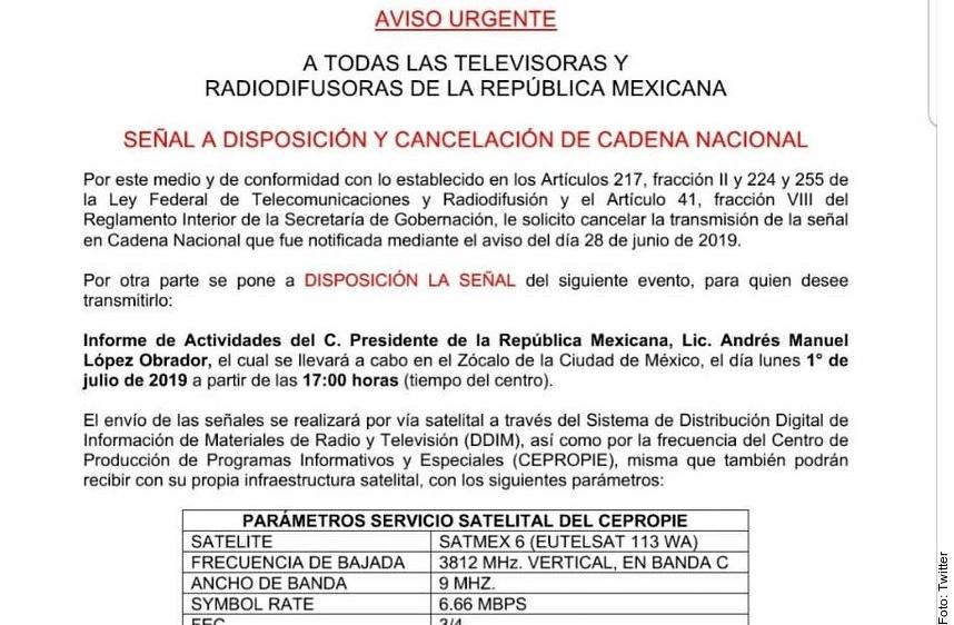 Cancelan transmisión en cadena nacional de mensaje de AMLO; será opcional